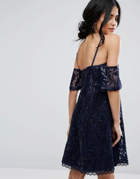 photo Off Shoulder Shift Dress in Lace by Chi Chi London, color Navy - Image 2