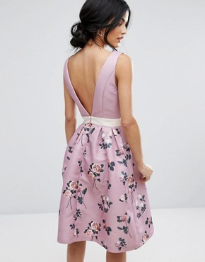 photo 2 in 1 Floral Midi Dress with Low Back by Chi Chi London, color Multi - Image 1