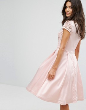 photo Structured Midi Dress with Lace Upper by Chi Chi London, color Pink - Image 2