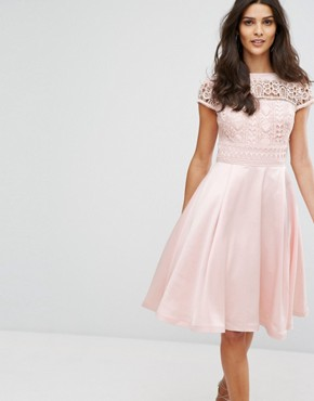 photo Structured Midi Dress with Lace Upper by Chi Chi London, color Pink - Image 1