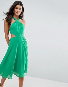 photo Side Cut Out Midi Dress with Twisted Neckline by ASOS, color Green - Image 1