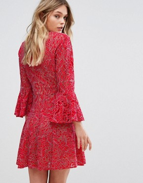 photo Cut Out Lace Dress by BCBG Max Azria, color Red - Image 2