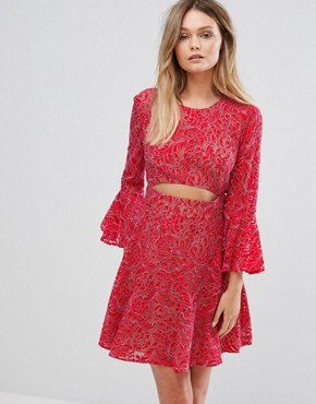 photo Cut Out Lace Dress by BCBG Max Azria, color Red - Image 1
