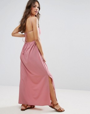 photo Tie Back Maxi Dress by ASOS, color Pink - Image 1