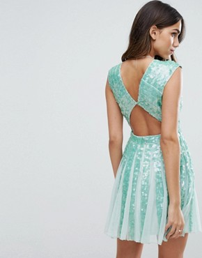 photo Mint Sequin Panelled Fit and Flare Mini Dress by ASOS SALON, color Mint - Image 2