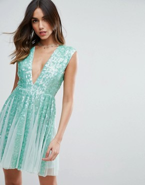photo Mint Sequin Panelled Fit and Flare Mini Dress by ASOS SALON, color Mint - Image 1