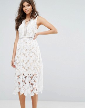 photo Lace Skater Midi Dress by RD & Koko, color White - Image 1