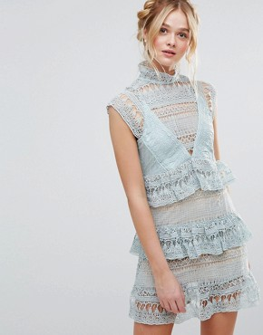 photo High Neck Lace Tiered Dress by RD & Koko, color Sea Foam - Image 1