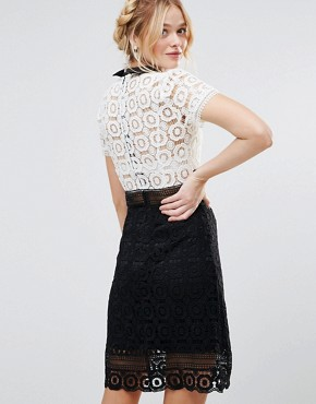 photo Monochrome Lace Pencil Dress by RD & Koko, color Black - Image 2