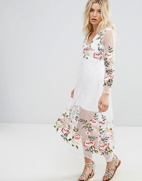 photo Long Sleeve Dress with Floral Embroidered Detail by RD & Koko, color White - Image 1