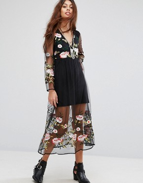 photo Long Sleeve Dress with Floral Embroidered Detail by RD & Koko, color Black - Image 1