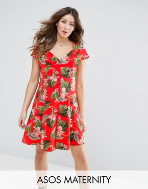 photo Button Through Tea Dress in Tropical Print by ASOS Maternity, color Multi - Image 1
