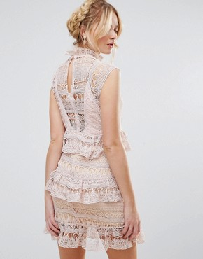 photo High Neck Lace Tiered Dress by RD & Koko, color Pink - Image 2