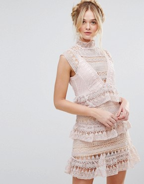 photo High Neck Lace Tiered Dress by RD & Koko, color Pink - Image 1
