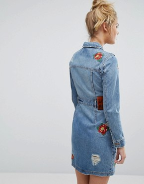 photo Denim Button Through Dress with Floral Embroidery by House of Holland x Lee, color Blue - Image 2