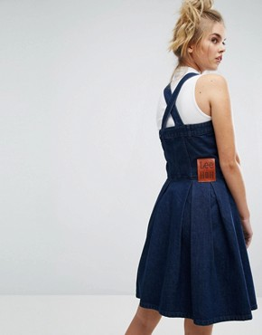 photo Denim Dungaree Dress with Hello Print by House of Holland x Lee, color Blue - Image 2