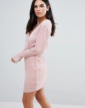 photo Wrap Front Long Sleeve Plisse Dress by Love & Other Things, color Pink - Image 2