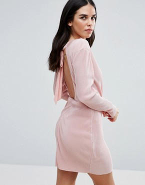 photo Wrap Front Long Sleeve Plisse Dress by Love & Other Things, color Pink - Image 1