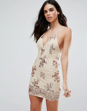 photo Strappy Back Embellished Dress by Love & Other Things, color Apricot - Image 2