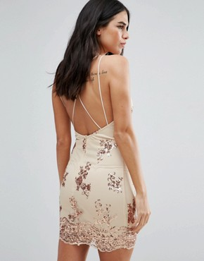 photo Strappy Back Embellished Dress by Love & Other Things, color Apricot - Image 1