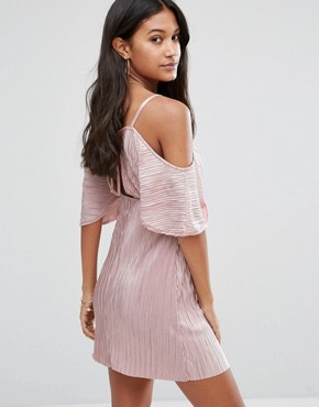 photo Off Shoulder V-Front Plisse Dress by Love & Other Things, color Pink - Image 2