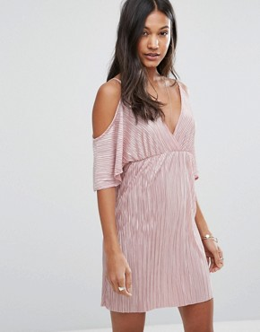 photo Off Shoulder V-Front Plisse Dress by Love & Other Things, color Pink - Image 1