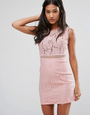 photo Lace Pencil Dress by Love & Other Things, color Pink - Image 1