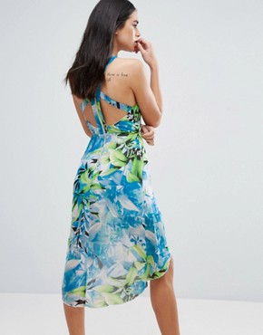 photo Tropical Print Dress by Love & Other Things, color Blue - Image 2