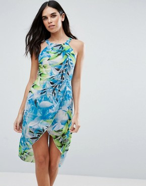 photo Tropical Print Dress by Love & Other Things, color Blue - Image 1