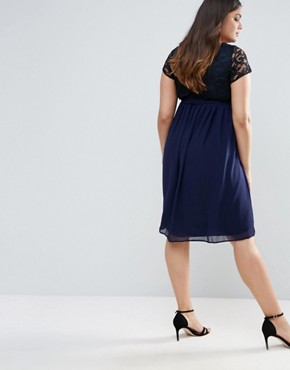 photo Plus Dress with Lace Top by Lovedrobe, color Navy - Image 2
