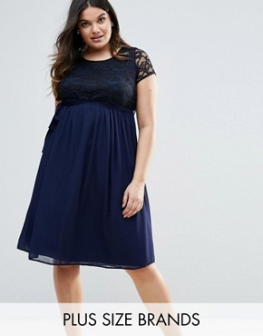 photo Plus Dress with Lace Top by Lovedrobe, color Navy - Image 1