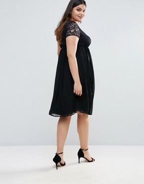 photo Plus Dress with Lace Top by Lovedrobe, color Black - Image 2