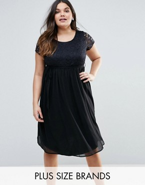 photo Plus Dress with Lace Top by Lovedrobe, color Black - Image 1