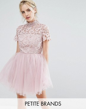 photo Lace Top Full Prom Mini Dress with Tulle Skirt by Chi Chi London Petite, color Blush - Image 1