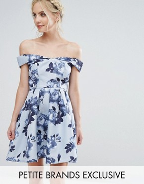 photo Off Shoulder Mini Prom Dress in Floral Print by Chi Chi London Petite, color Multi - Image 1