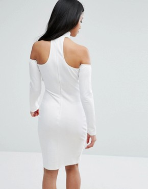 photo High Neck Cold Shoulder Bodycon Dress by NaaNaa Petite, color White - Image 2