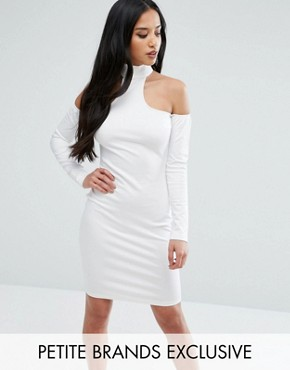 photo High Neck Cold Shoulder Bodycon Dress by NaaNaa Petite, color White - Image 1