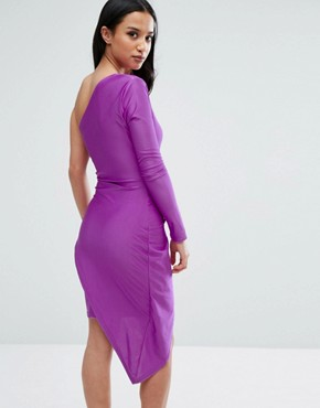 photo One Shoulder Wrap Front Mini Dress by NaaNaa Petite, color Purple - Image 2