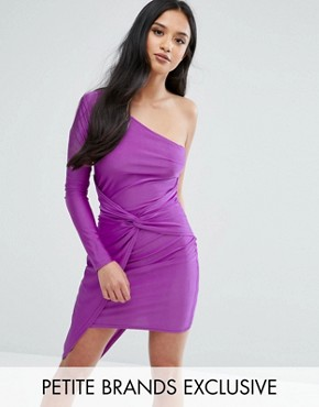 photo One Shoulder Wrap Front Mini Dress by NaaNaa Petite, color Purple - Image 1