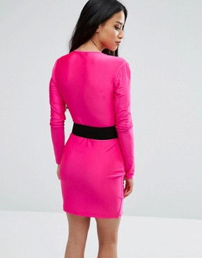 photo Plunge Front Mini Bodycon Dress with Belt by NaaNaa Petite, color Pink - Image 2