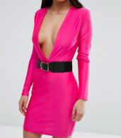 photo Plunge Front Mini Bodycon Dress with Belt by NaaNaa Petite, color Pink - Image 3