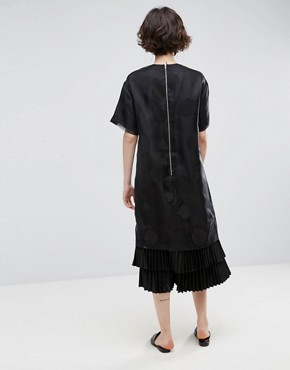 photo Layered Midi Dress in Spot Organza by ASOS WHITE, color Black - Image 2