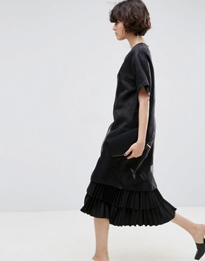 photo Layered Midi Dress in Spot Organza by ASOS WHITE, color Black - Image 1