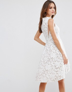 photo Lace Skater Dress by Forever Unique, color Ivory/Nude - Image 2
