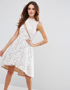 photo Lace Skater Dress by Forever Unique, color Ivory/Nude - Image 1