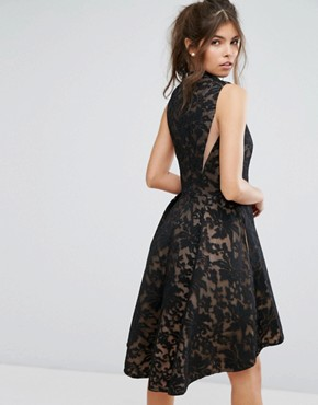 photo Lace Skater Dress by Forever Unique, color Black/Nude - Image 2