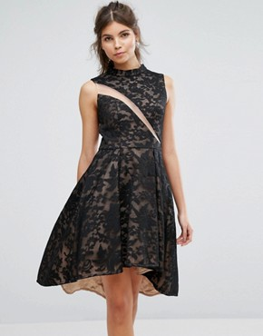 photo Lace Skater Dress by Forever Unique, color Black/Nude - Image 1