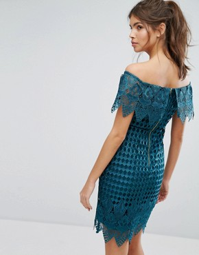 photo Lace Bardot Dress by Forever Unique, color Emerald Green - Image 2