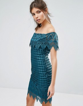 photo Lace Bardot Dress by Forever Unique, color Emerald Green - Image 1