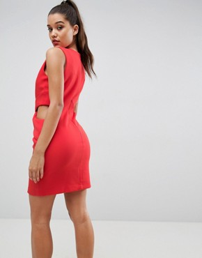 photo Deep Plunge Cut Out Dress by Kendall + Kylie, color Paprika - Image 2